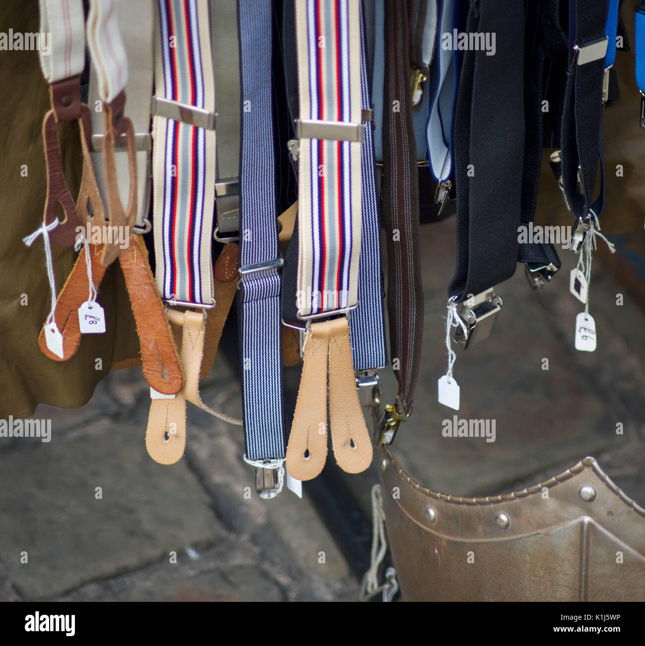 Vintage clothing suspenders braces - Stock Image
