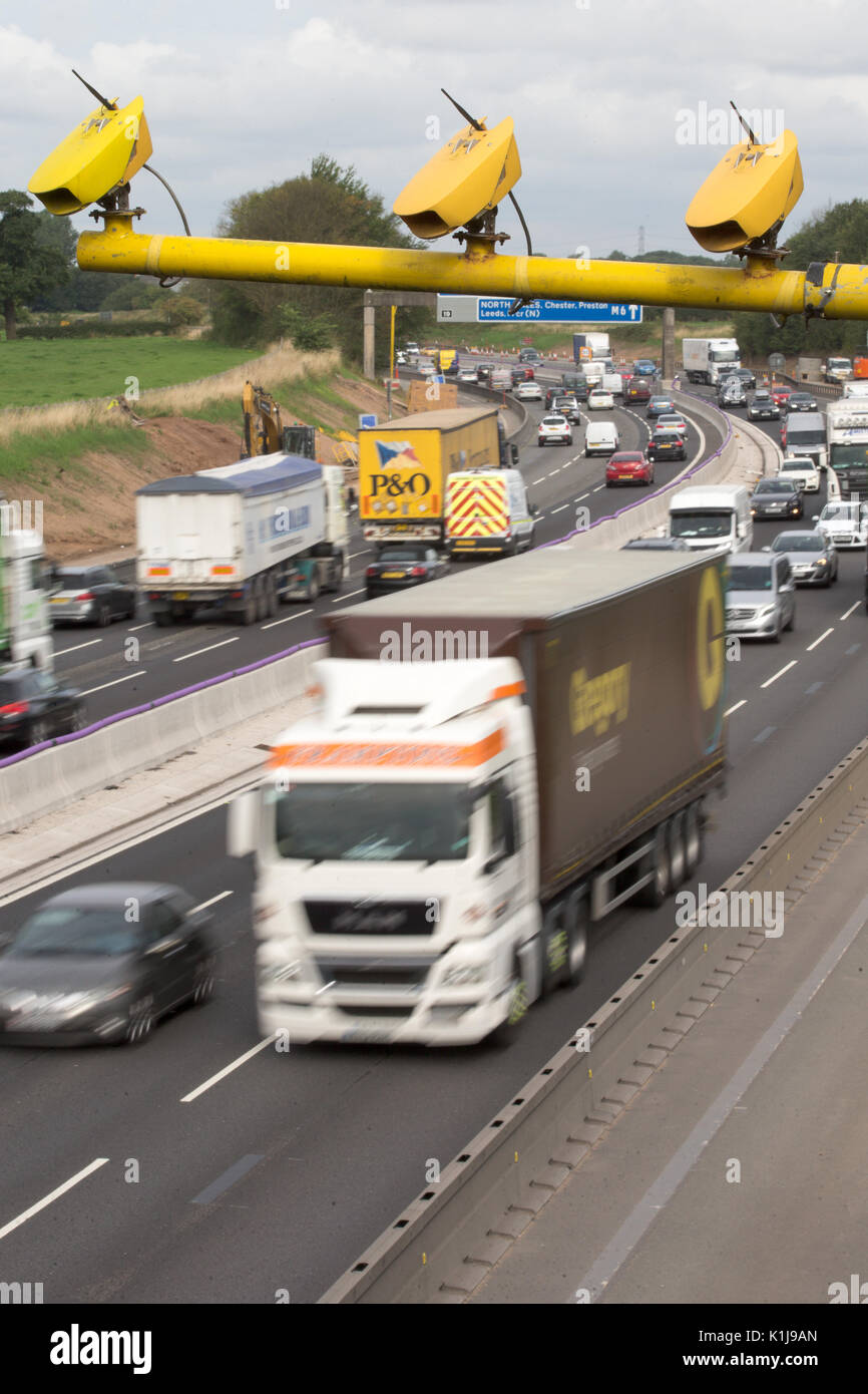 Average speed cameras on the M6 motorway in Cheshire,UK. Stock Photo