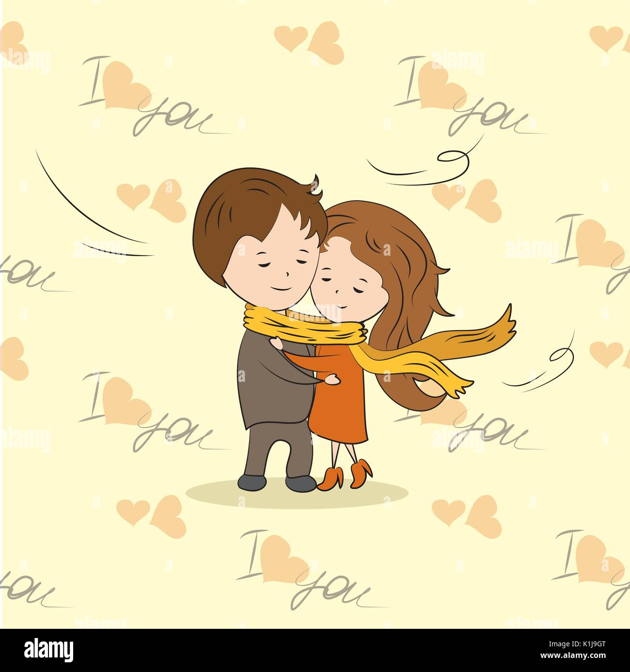 couple in love tied a large scarf, vector illustration - Stock Vector