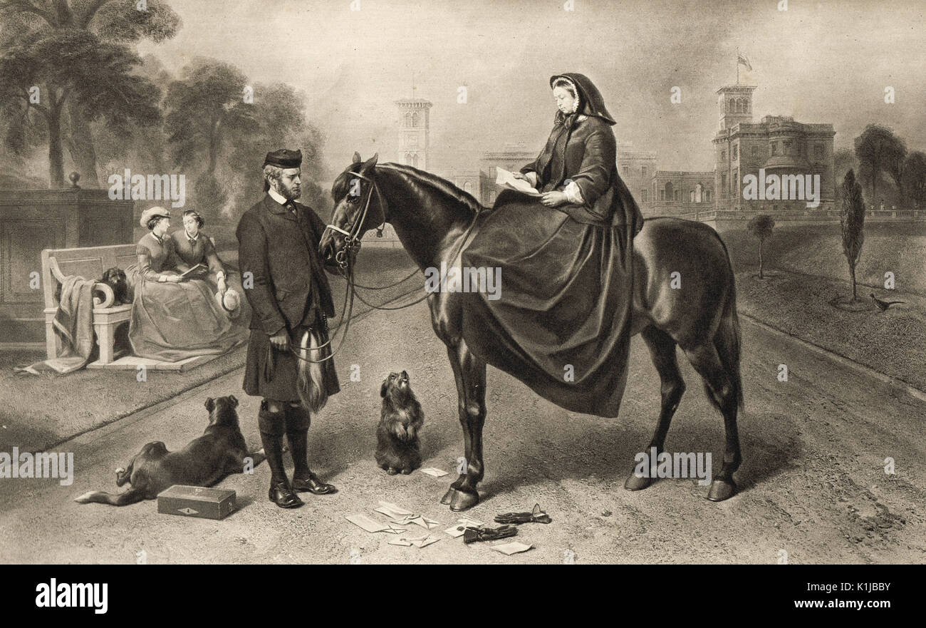 Queen Victoria at Osborne house in 1865 - Stock Image