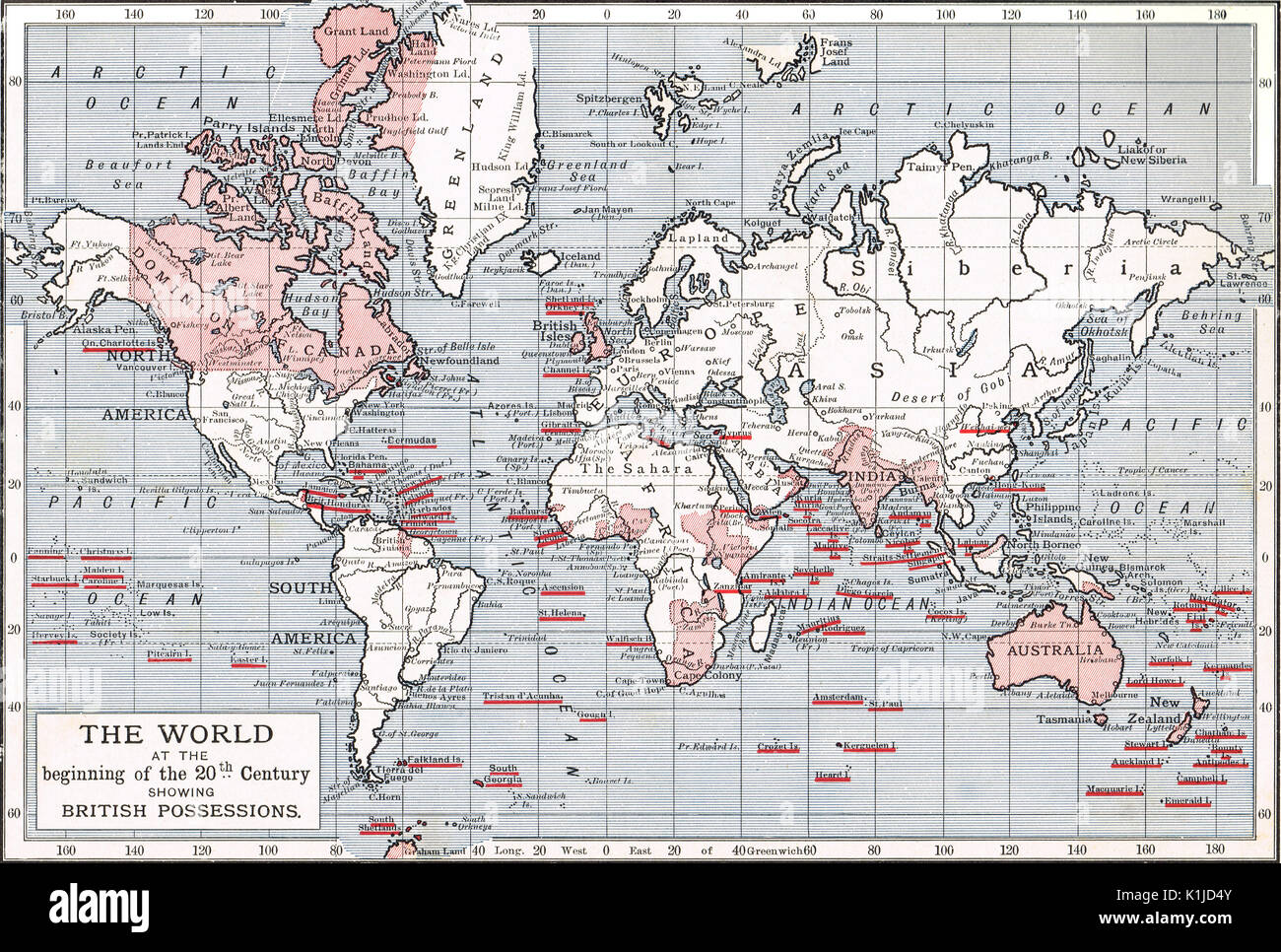 World map showing British possessions at the beginning of the 20th century - Stock Image