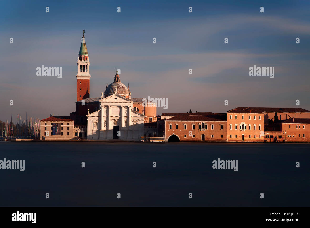 Long exposure of the island of San Giorgio Maggiore situated just off the historic city of Venice, Italy. - Stock Image