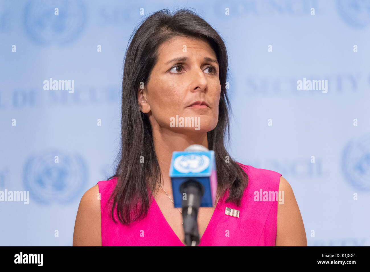 US Permanent Representative to the United Nations Ambassador Nikki Haley is seen during a press encounter at the Security Council stakeout at UN Headquarters. During the media event, Ambassador Haley addressed ongoing concerns over Iran's nuclear program and new sanctions imposed upon Venezuela by the United States. (Photo by Albin Lohr-Jones / Pacific Press) - Stock Image
