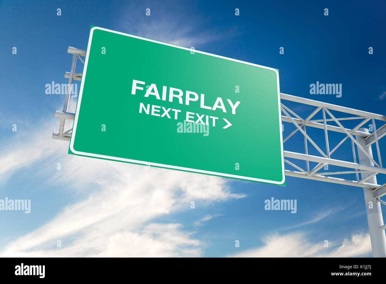 Hi-res 3D highway 'Fairplay' road sign against a blue sky with cloudscape and 'Next Exit' message. 3D rendering. - Stock Image