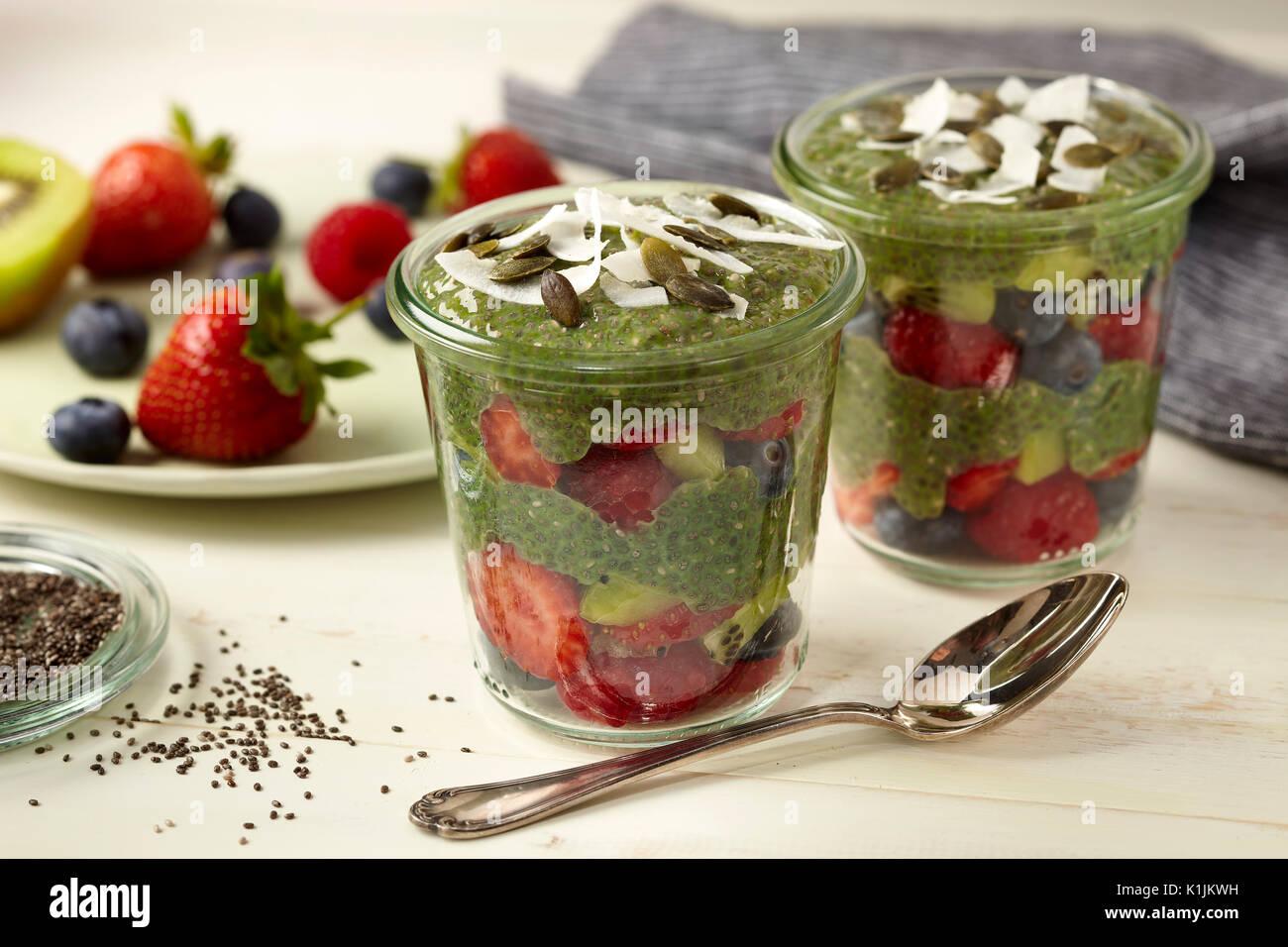 Matcha chia pudding - Stock Image
