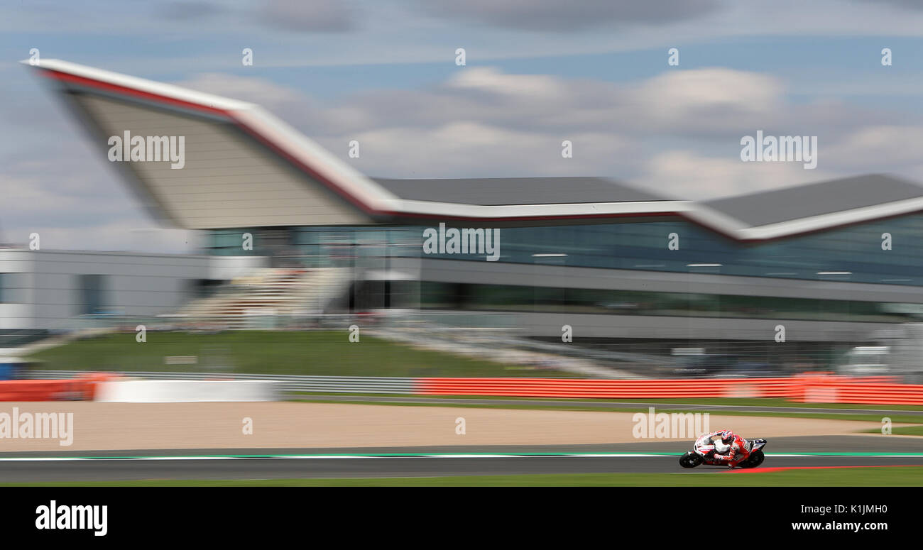 Octo Pramacs's Danilo Petrucci during qualifying ahead of the British Moto Grand Prix at Silverstone, Towcester. - Stock Image