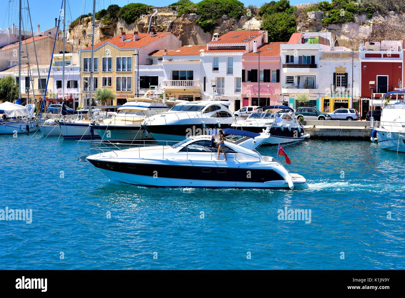 Small motorboat yacht Mahon Menorca Minorca Stock Photo