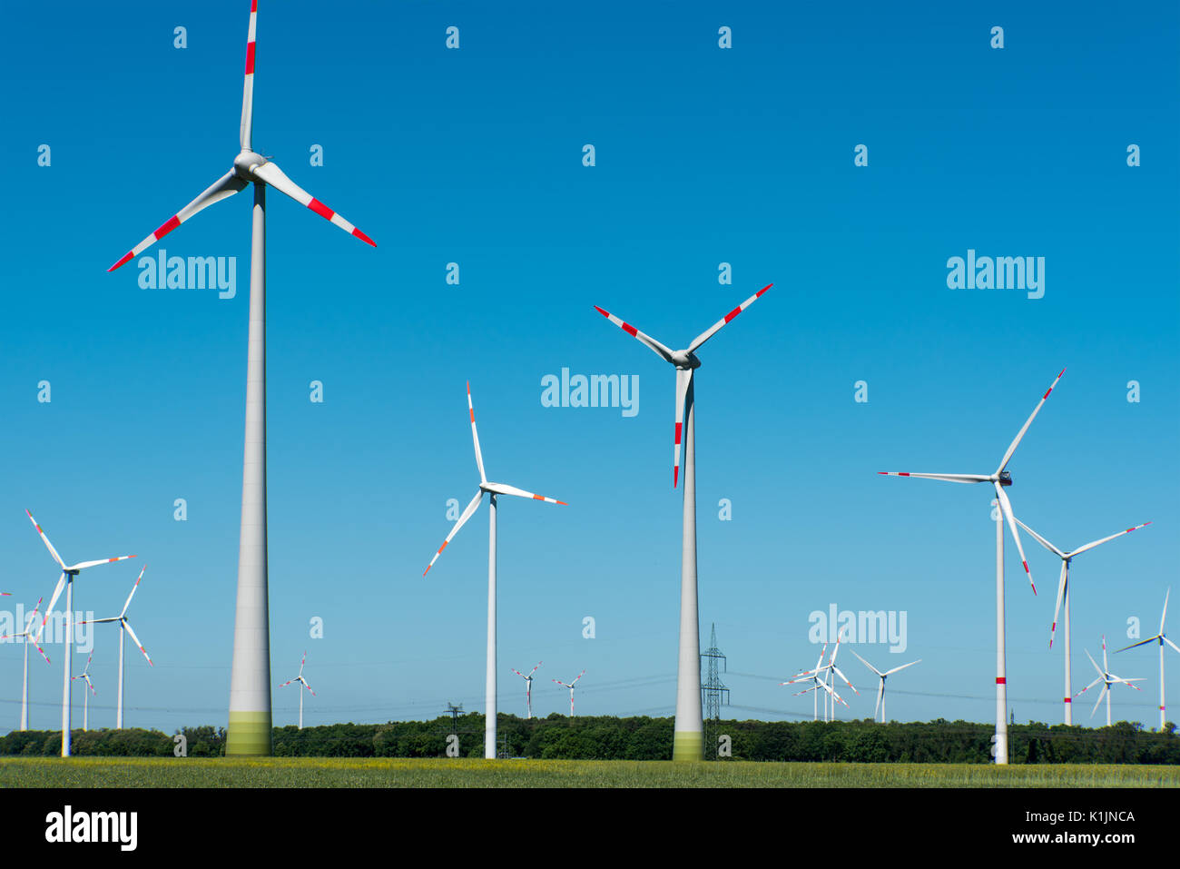 Wind energy generation seen in Germany - Stock Image
