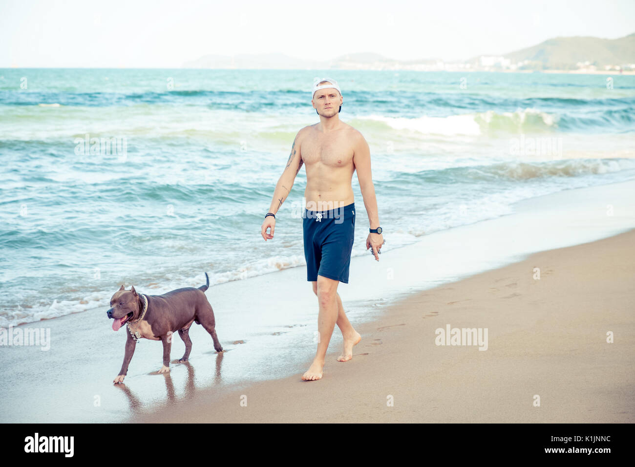 Young man with dog american pit bull terrier walking on seashore - Stock Image