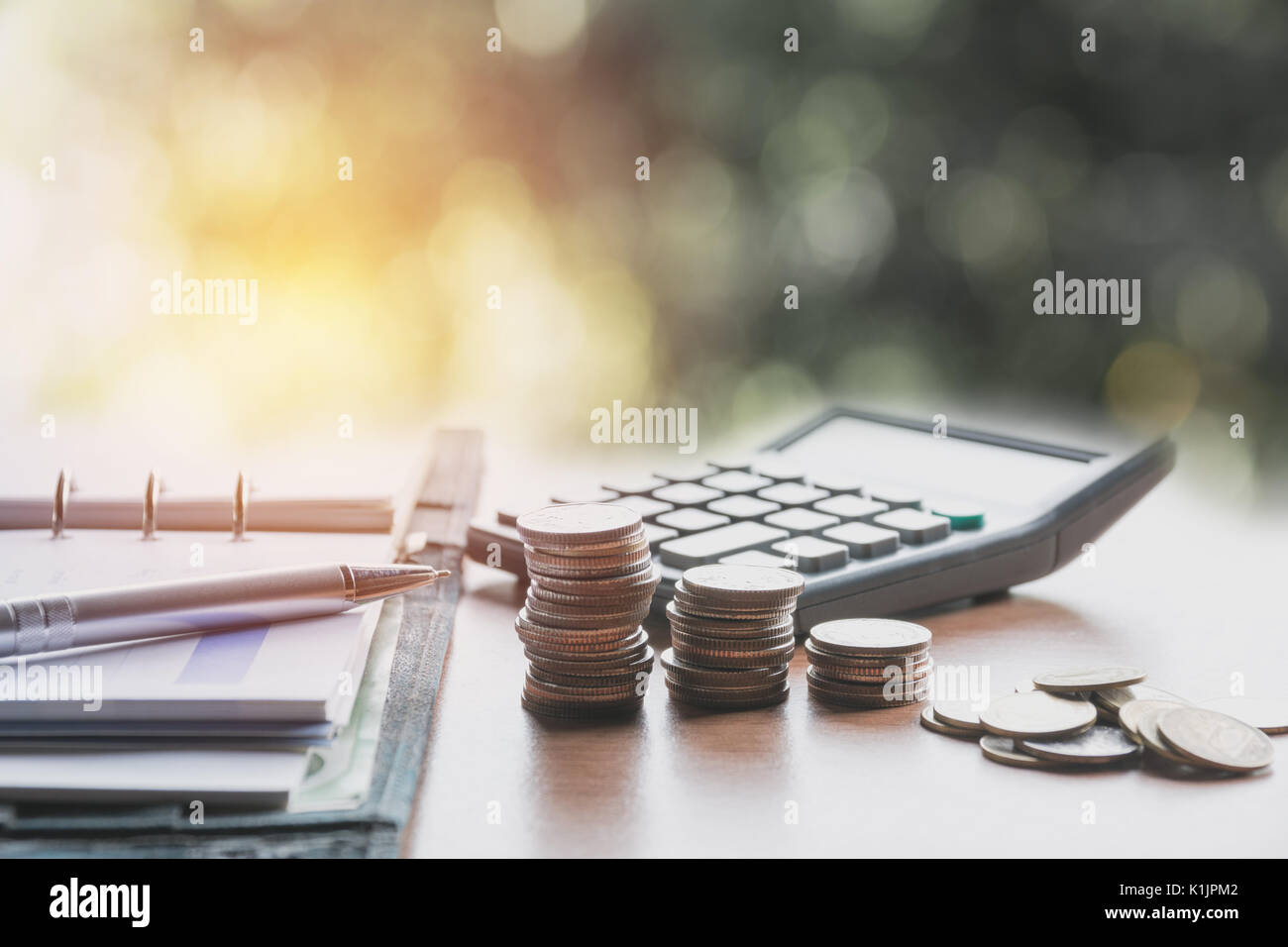 Saving money concept and money coin stack growing for business concept. - Stock Image