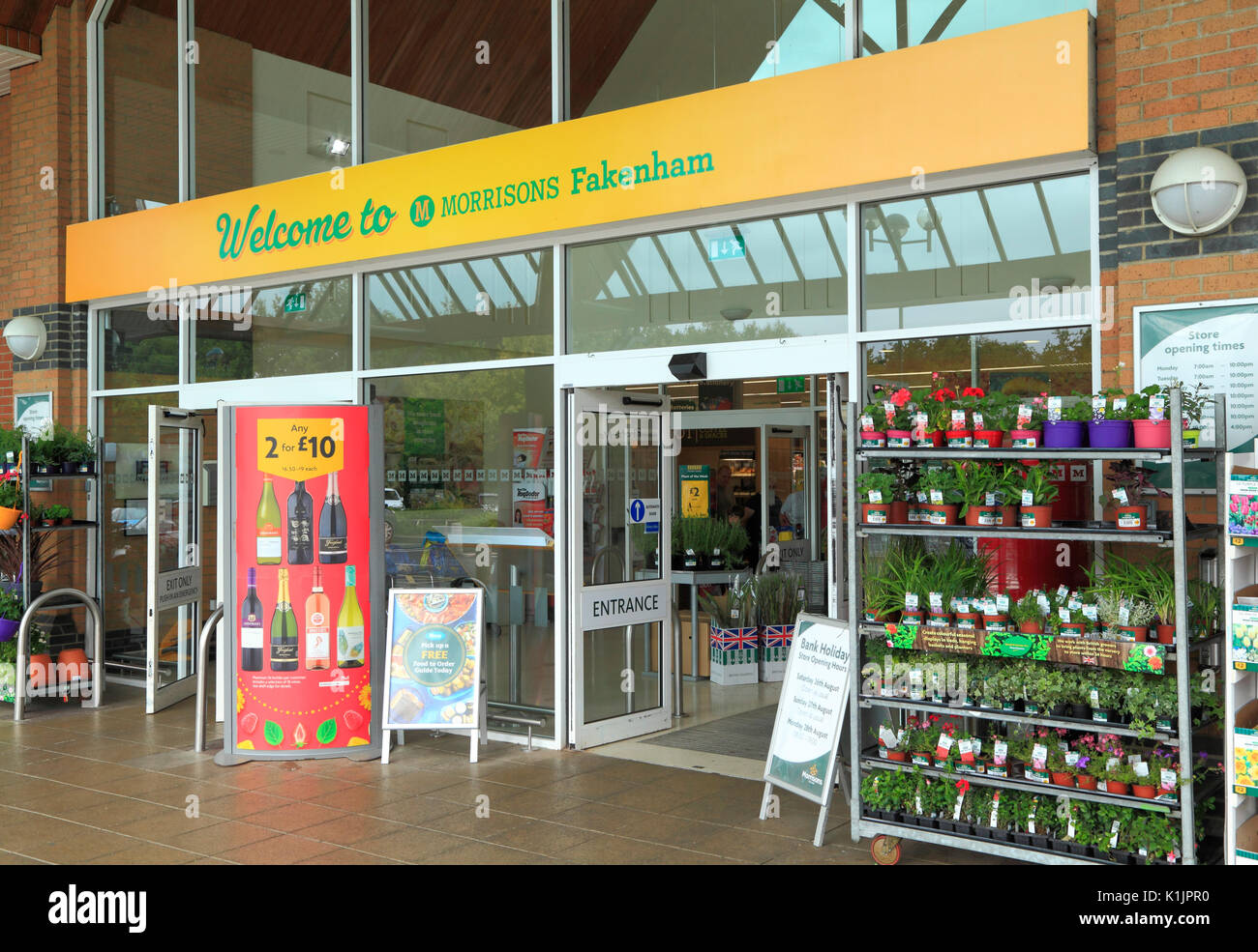 Morrisons Supermarket, entrance,  foyer, Fakenham, Norfolk, England, UK, English supermarkets, store, stores - Stock Image