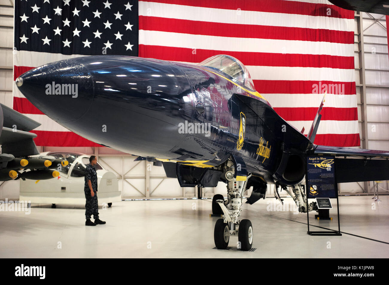 FA-18 Hornet Blue Angels at National Naval Aviation Museum Stock Photo