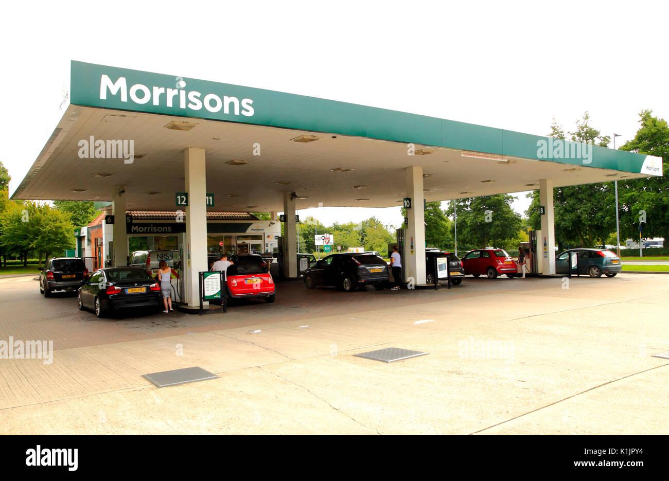 Morrisons,  petrol, diesel, filling station, supermarket, Fakenham, Norfolk, England, UK - Stock Image
