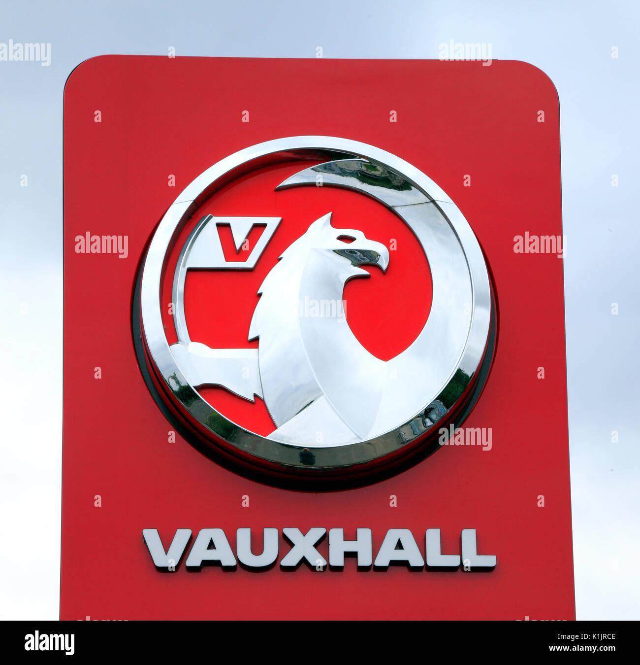 Vauxhall Motors, Motor car, logo, main dealers, vehicle, vehicles, dealer, dealership, sign, Fakenham, Norfolk, England, UK - Stock Image