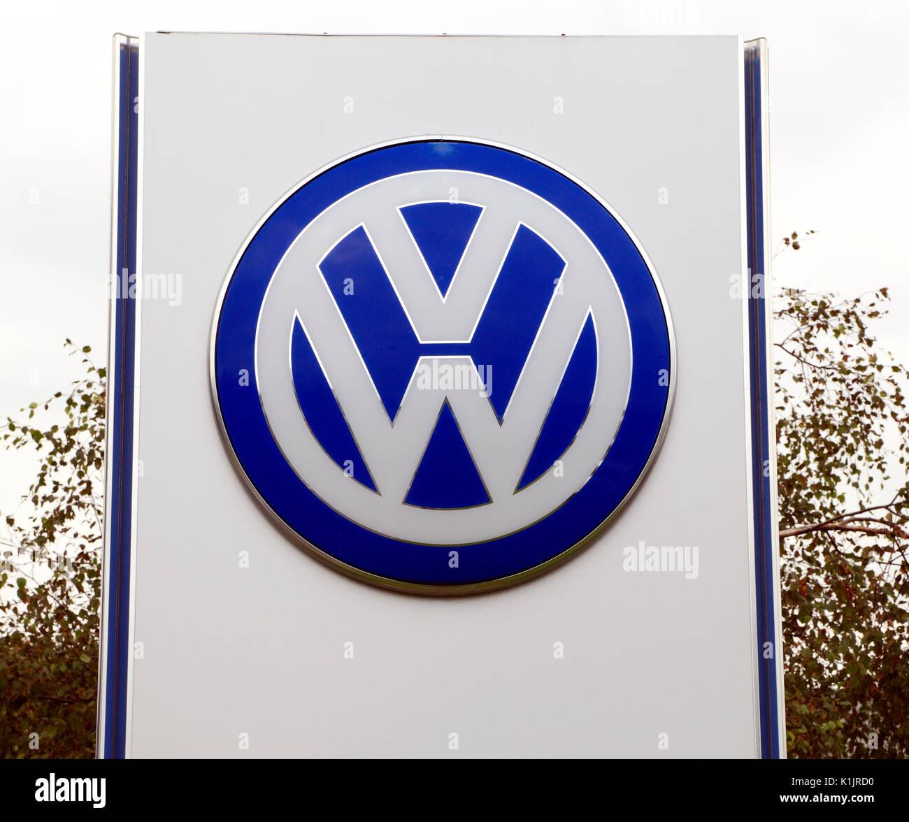 VW logo, Volkswagen, Motor Cars, vehicles, main dealer, dealership, England, UK - Stock Image