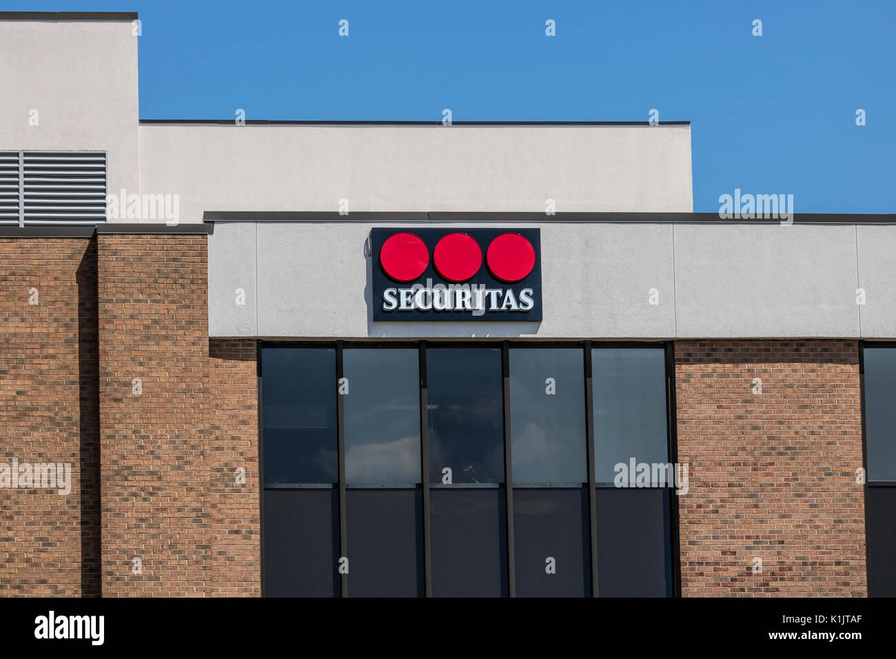 Indianapolis - Circa August 2017: Local Securitas Security location. Headquartered in Stockholm, Securitas provides event and cyber security services  - Stock Image