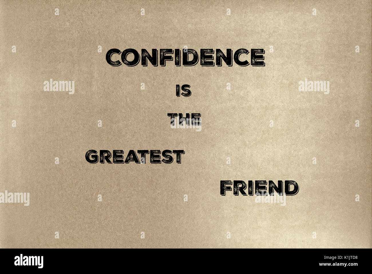 A phrase by Lao Tzu: Confidence is the greatest friend.    Graphic Design. - Stock Image