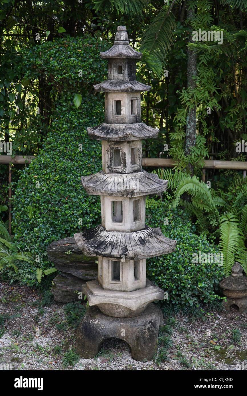 Old Stone Lantern In Traditional Japanese Garden Phuket Thailand Stock Photo Alamy