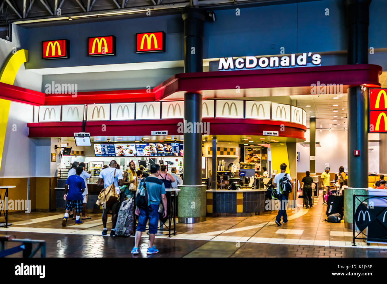 Washington DC, USA - July 1, 2017: Inside Union Station in capital city with shopping mall food court and McDonalds restaurant sign - Stock Image