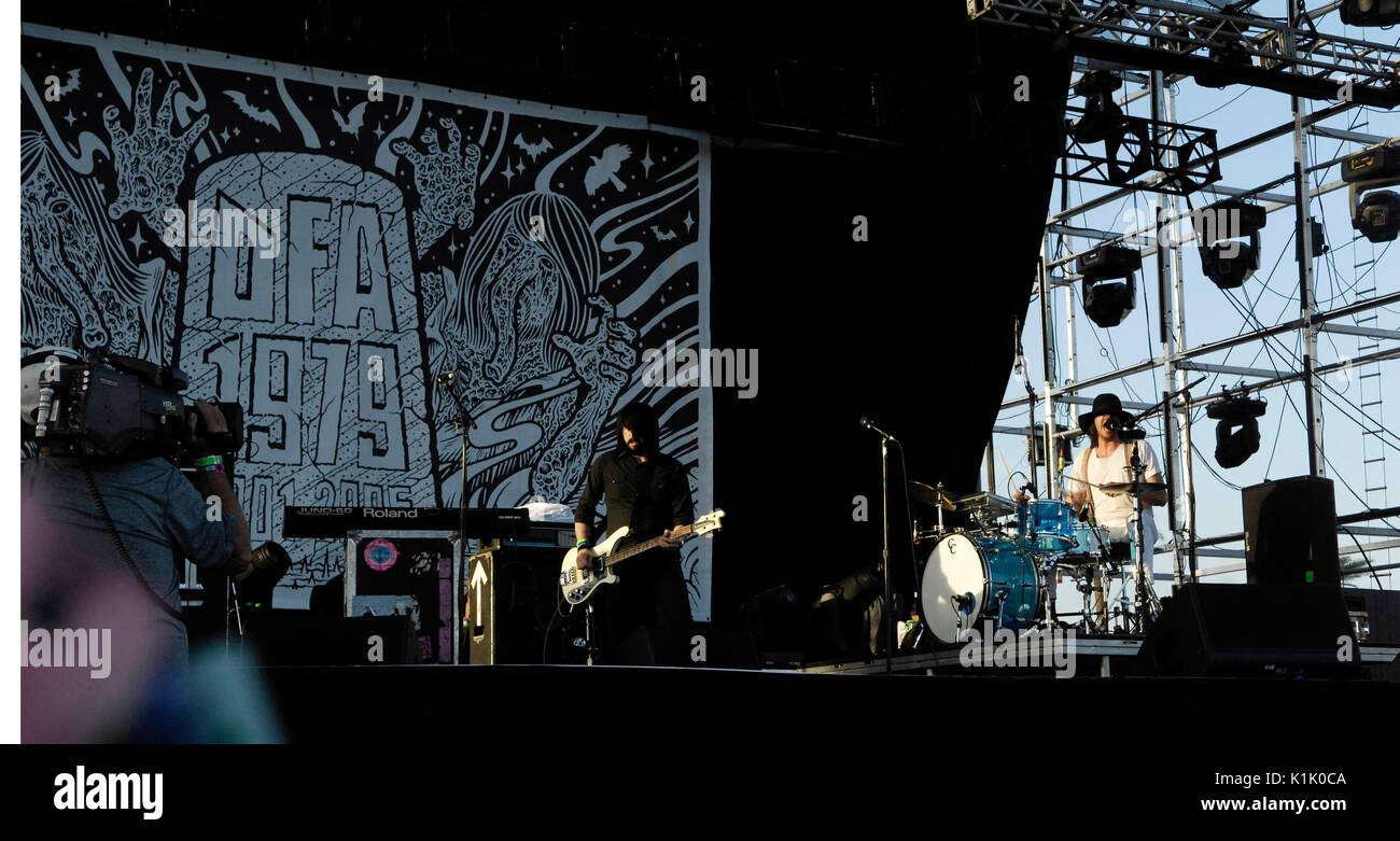 (L-R) Musicians Jesse F Keeler Sebastien Grainger Death From Above 1979 performs 2011 Coachella Music Festival March 17,2011 Indio. - Stock Image