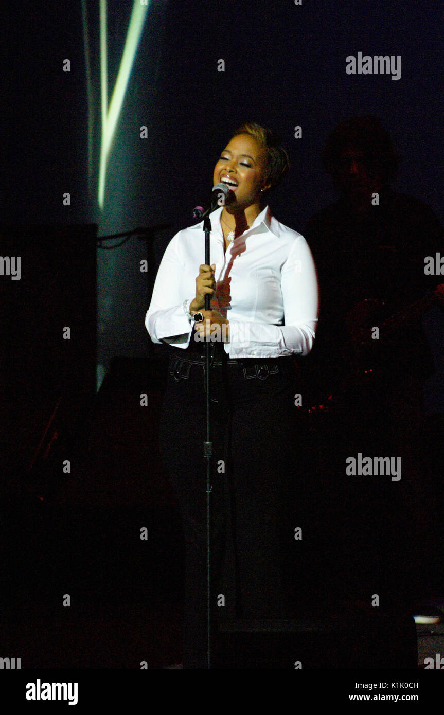Chrisette Michele performing 10th Annual GRAMMY Foundation Music Preservation Project Wilshire Ebell Theater Los Angeles,Ca. - Stock Image