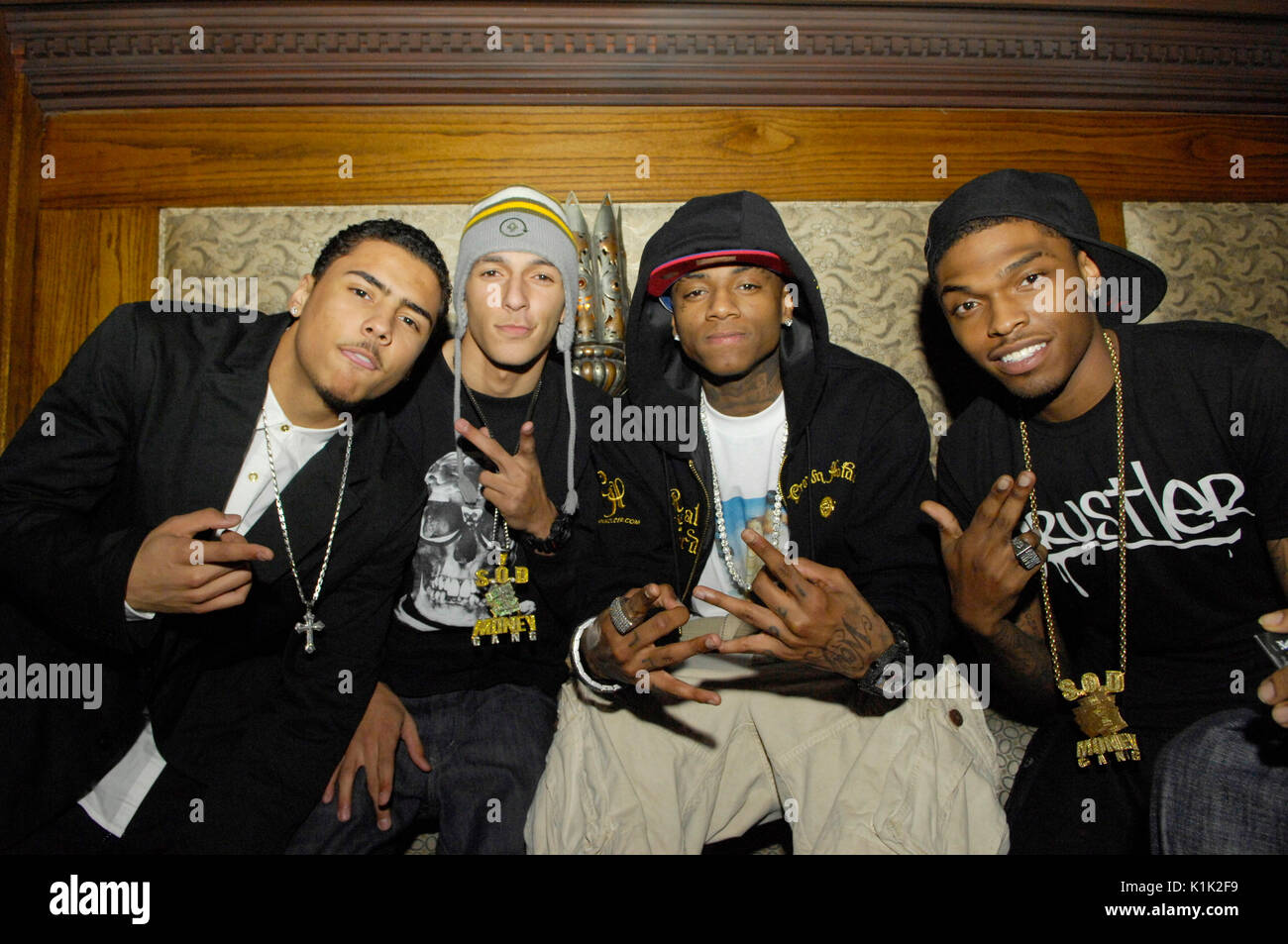 (L-R) Quincy 'IQ' Brown,Khleo Thomas,Soulja Boy Tell 'Em,JBar Pig N' Whistle for 'This is My IQ' Mixtape release party Los Angeles. - Stock Image