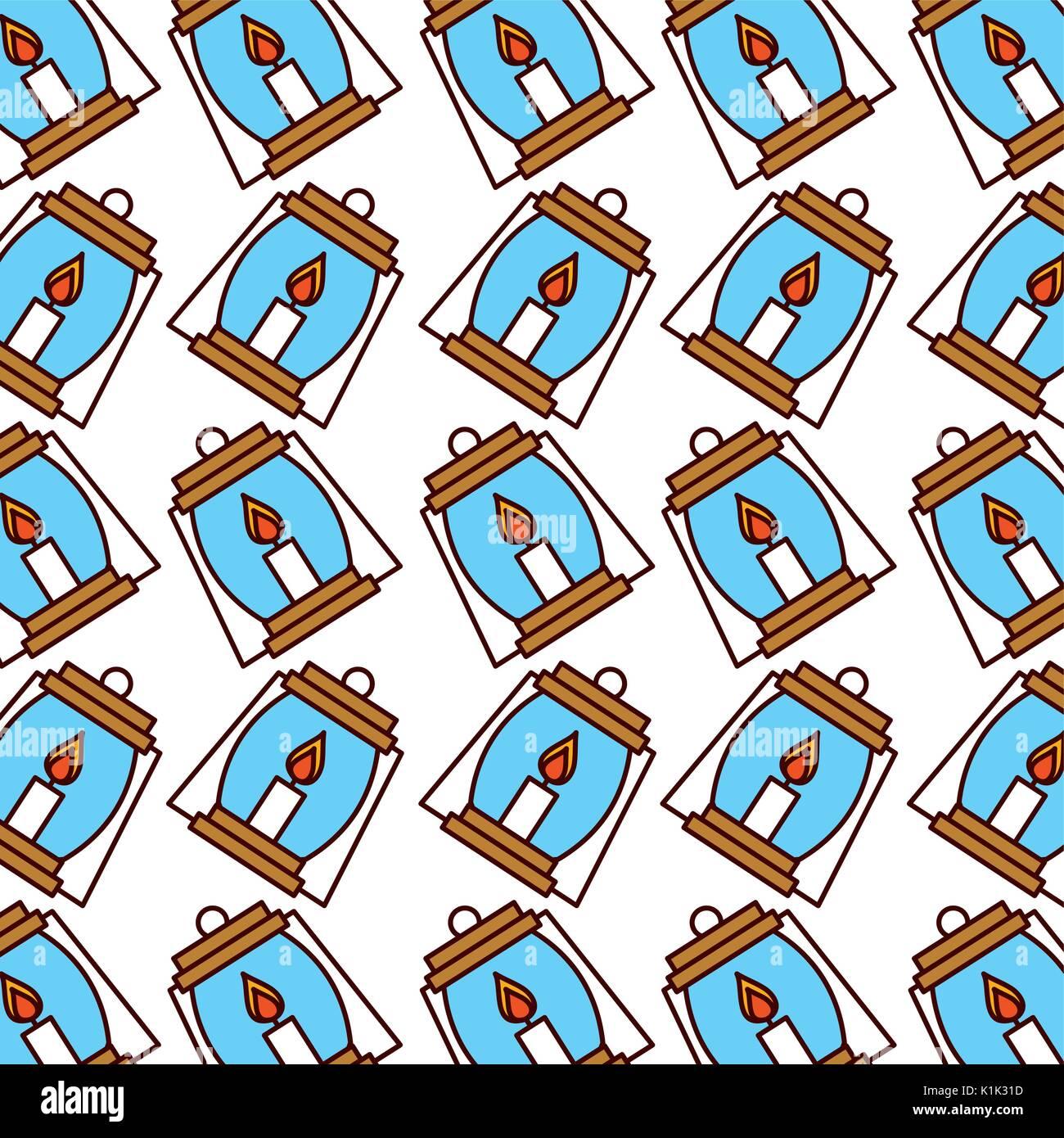 lantern camping pattern background - Stock Image