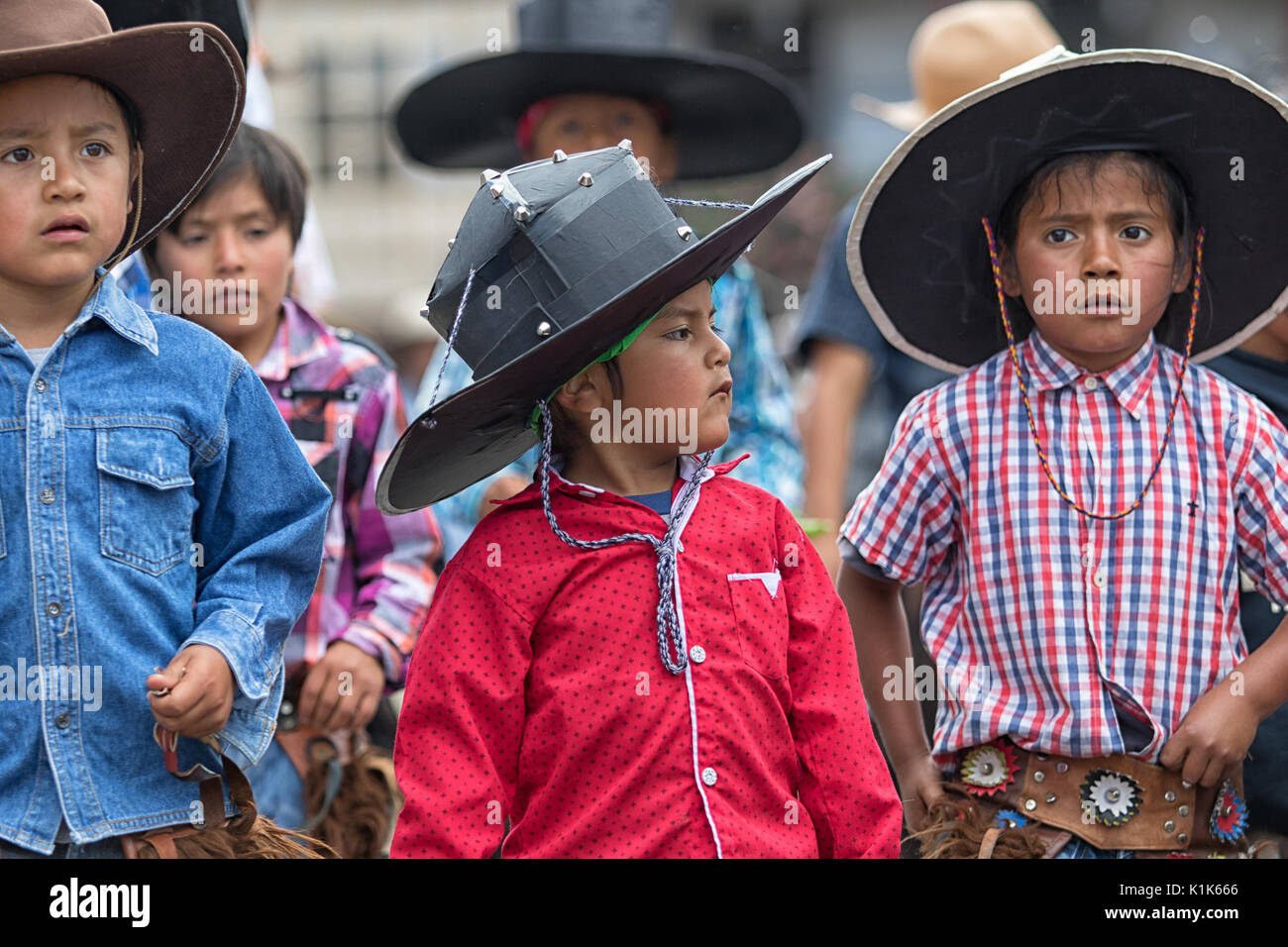 June 29, 2017 Cotacachi, Ecuador: kichwa indigenous children are an active part of the  Inti Raymi festival - Stock Image