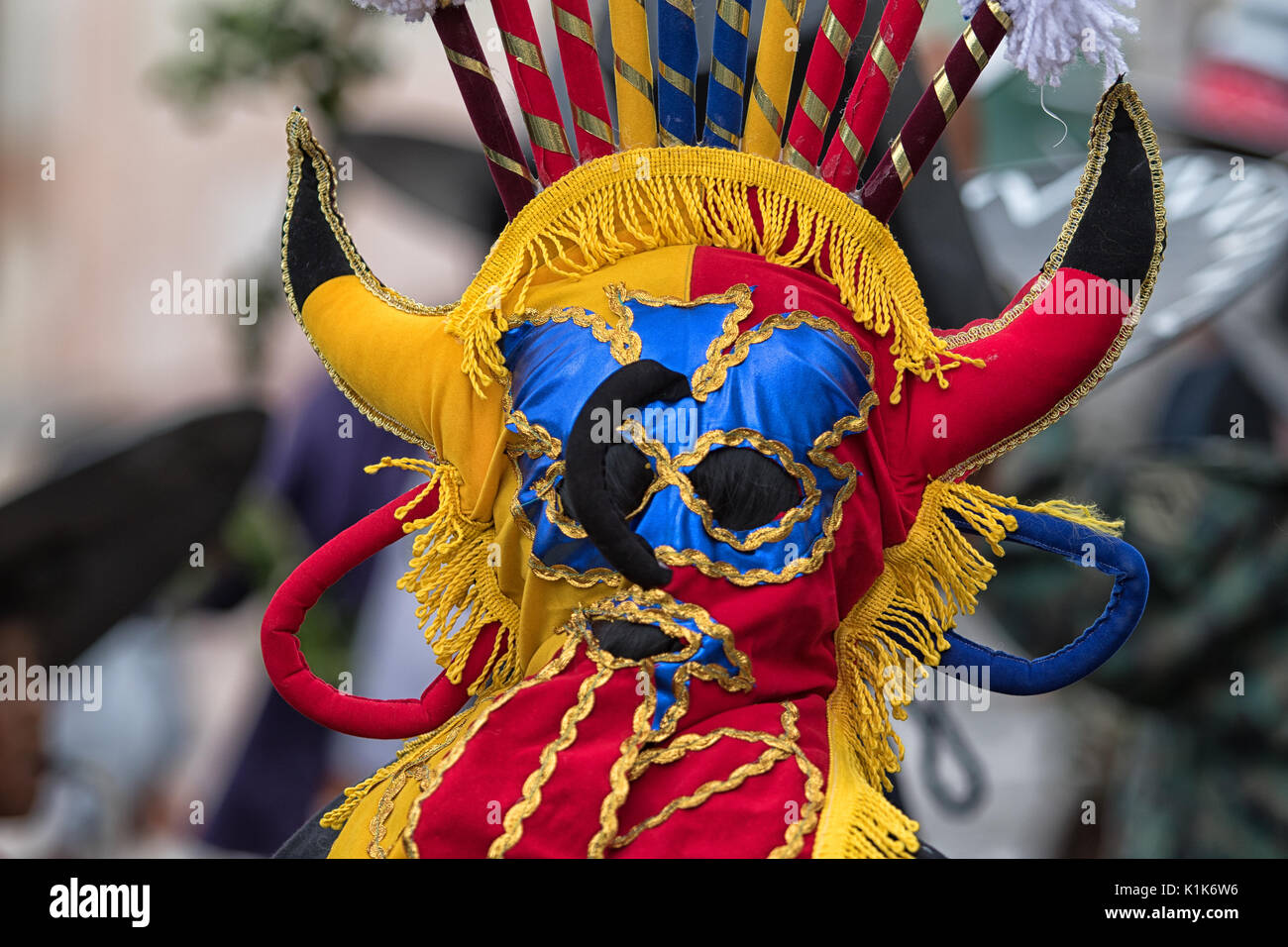 traditional indigenous mask in Ecuador - Stock Image