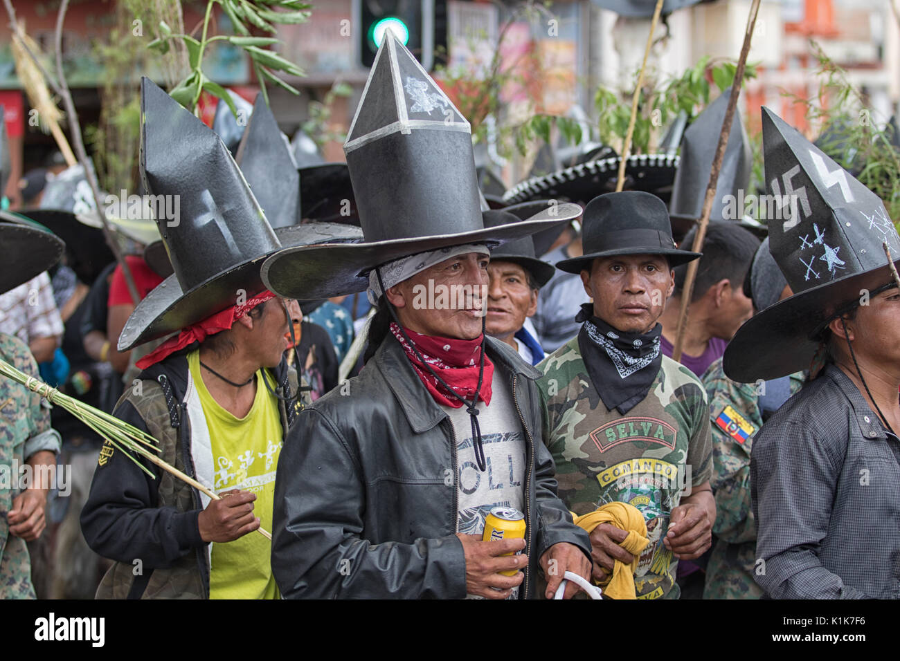 Inti Raymi annual celebration of the summer solstice in Cotacachi Ecuador - Stock Image