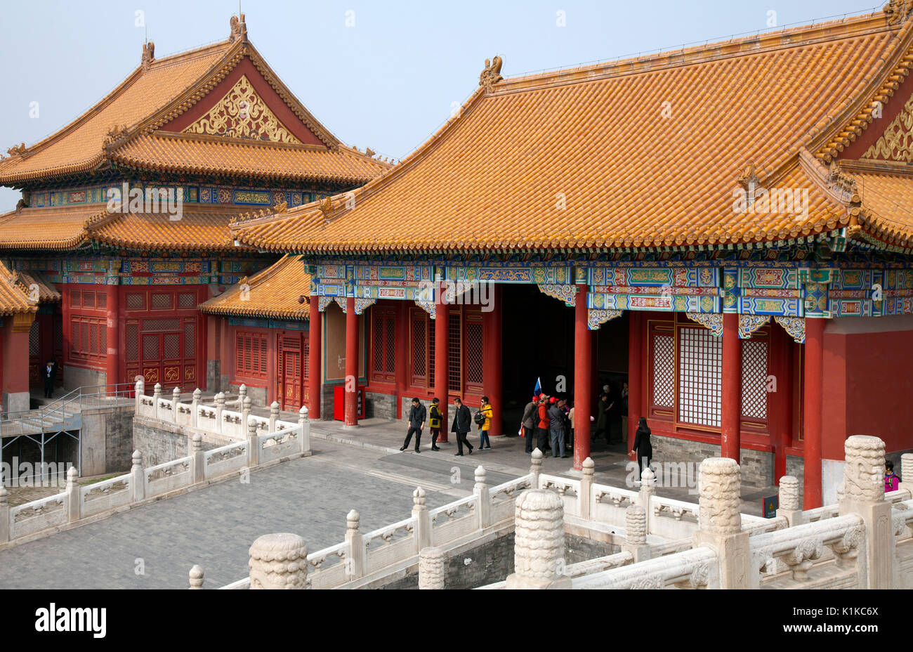 Architectural detail, Forbidden City, Beijing, China.  Tentatively identified as the Hall of Mental Cultivation and former quarters of the monarch's c - Stock Image