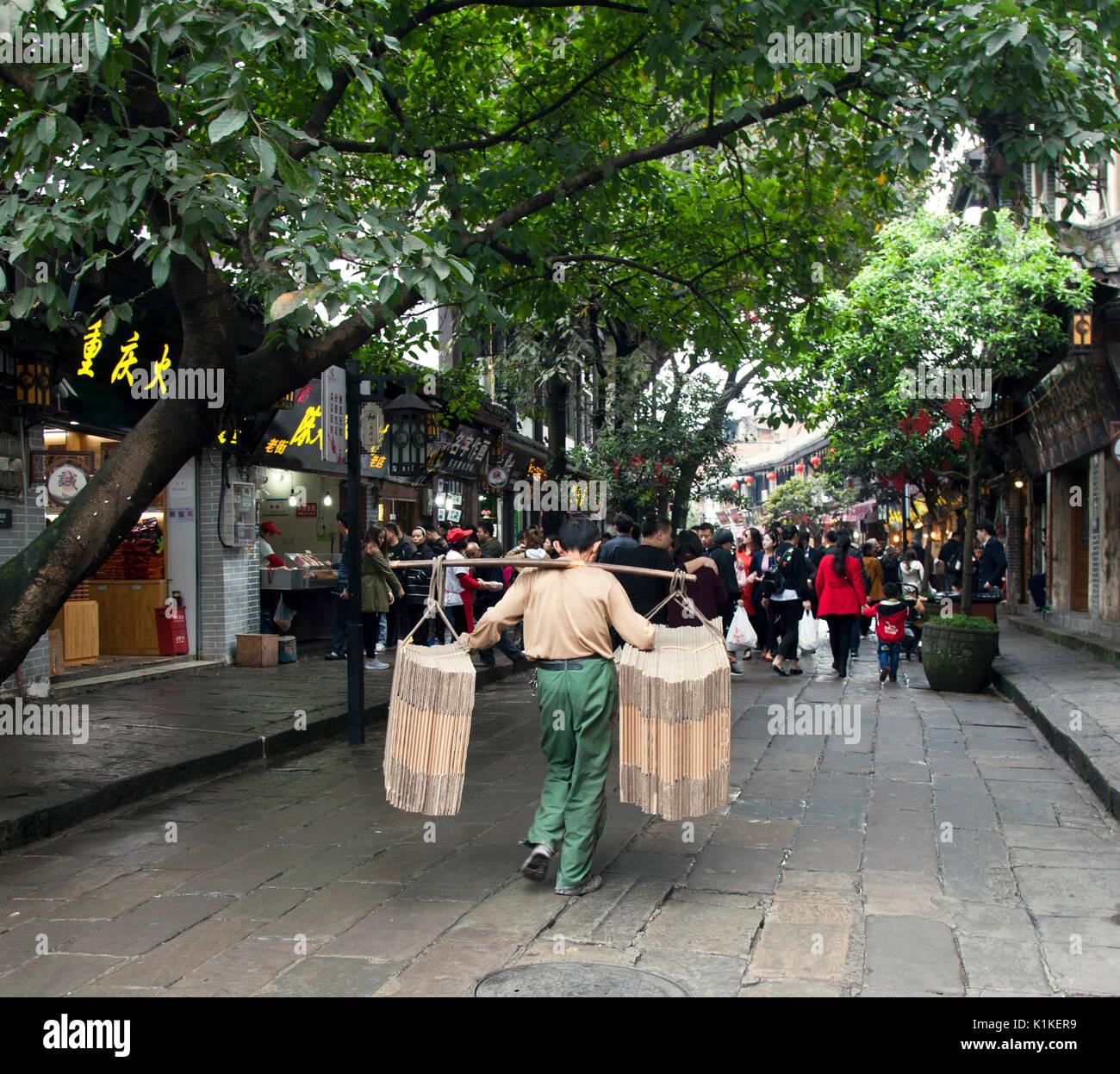 Coolie With Shoulder Yoke, Chongqing,  China. - Stock Image