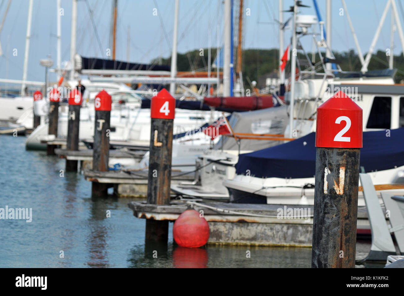 The yacht haven marinas at Cowes on the Isle of Wight solent berthing and moorings yachting and boating harbours Isle of Wight ferry cowes week - Stock Image