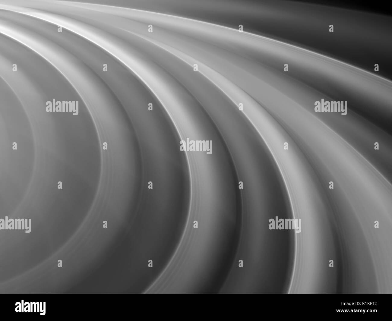 Curvy wavy shapes in space texture, black and white, computer generated abstract background, 3D rendering - Stock Image