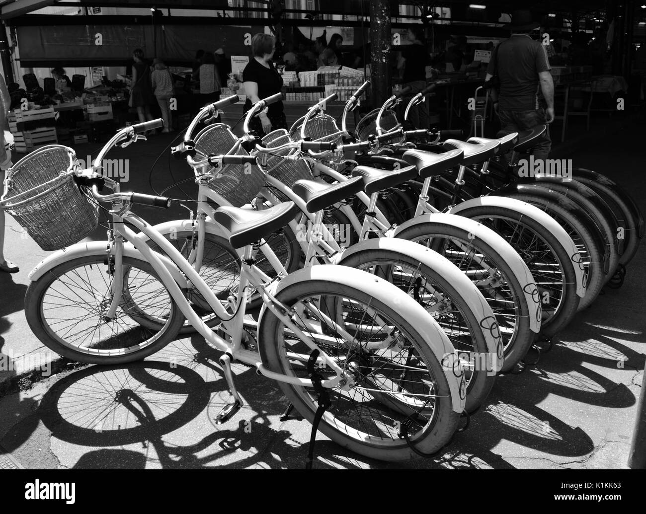 Bikes for hire parked in Antibes France - Stock Image