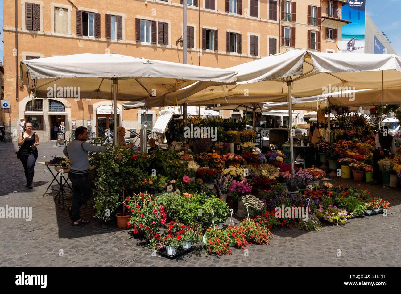Flower stand at the Campo de' Fiori in Rome, Italy - Stock Image