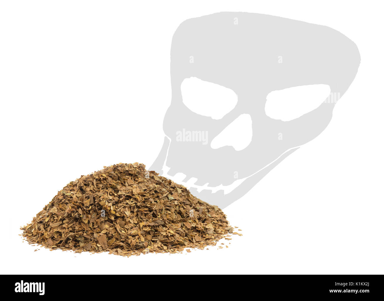 concept of smoking kills in a health warning  showing unprocessed dry tobacco leafs with a death skull shadow on a white background - Stock Image
