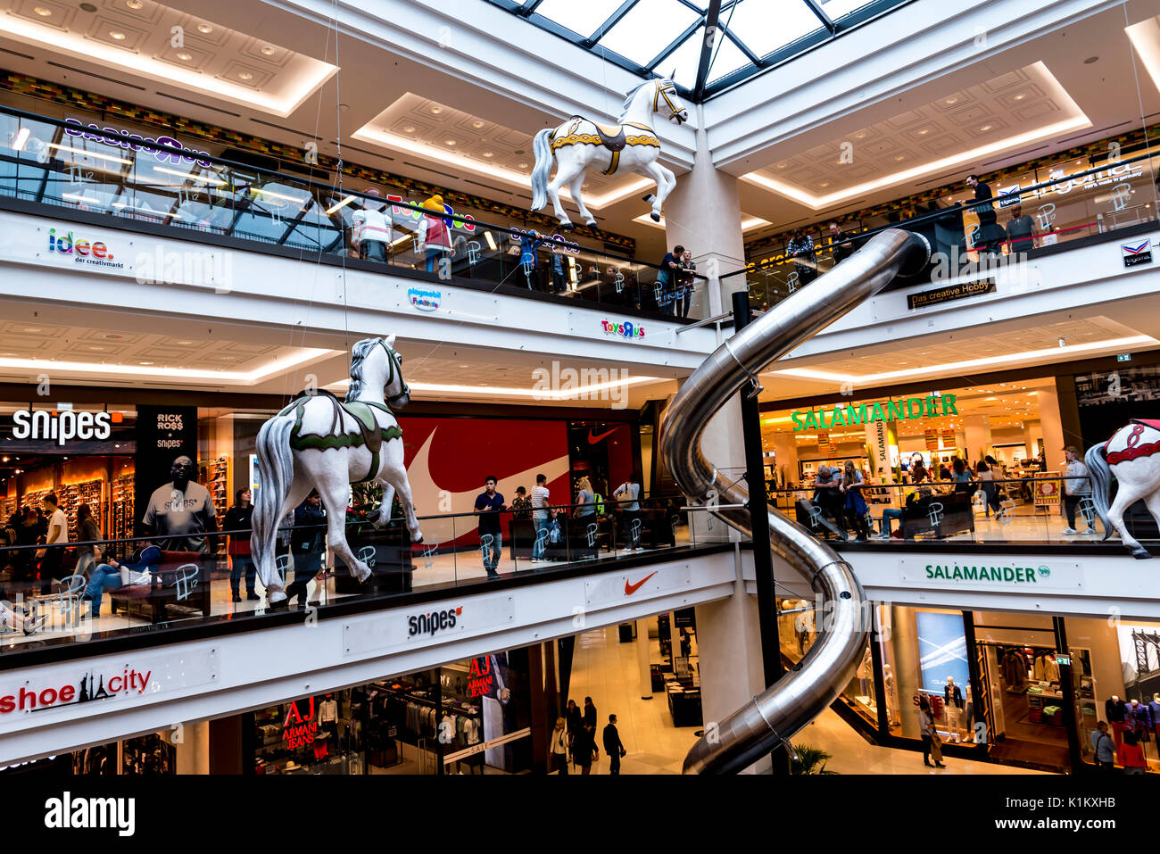 The huge complex of the Mall of Berlin is located near the Berlin Potsdamer Platz railway station in Germany - Stock Image