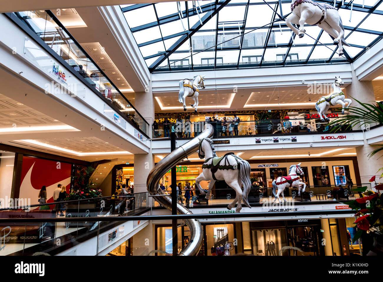 The huge complex of the Mall of Berlin is located near the Berlin Potsdamer Platz railway station. - Stock Image