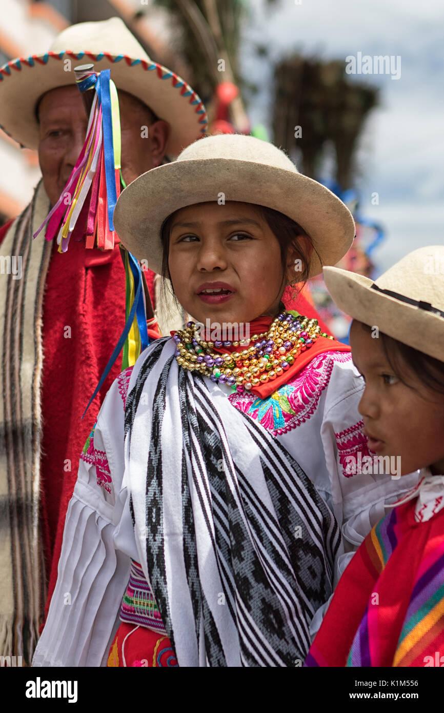 young girl at Corpus Christi parade in Pujili Ecuador - Stock Image