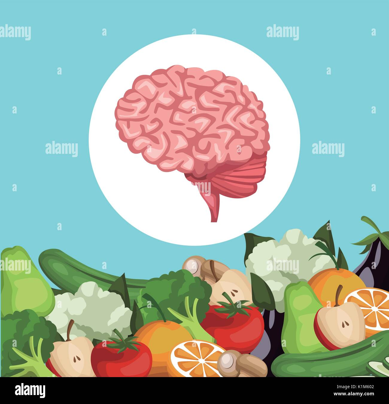 color background with border vegetables and fruits healthy food to brain organ - Stock Image