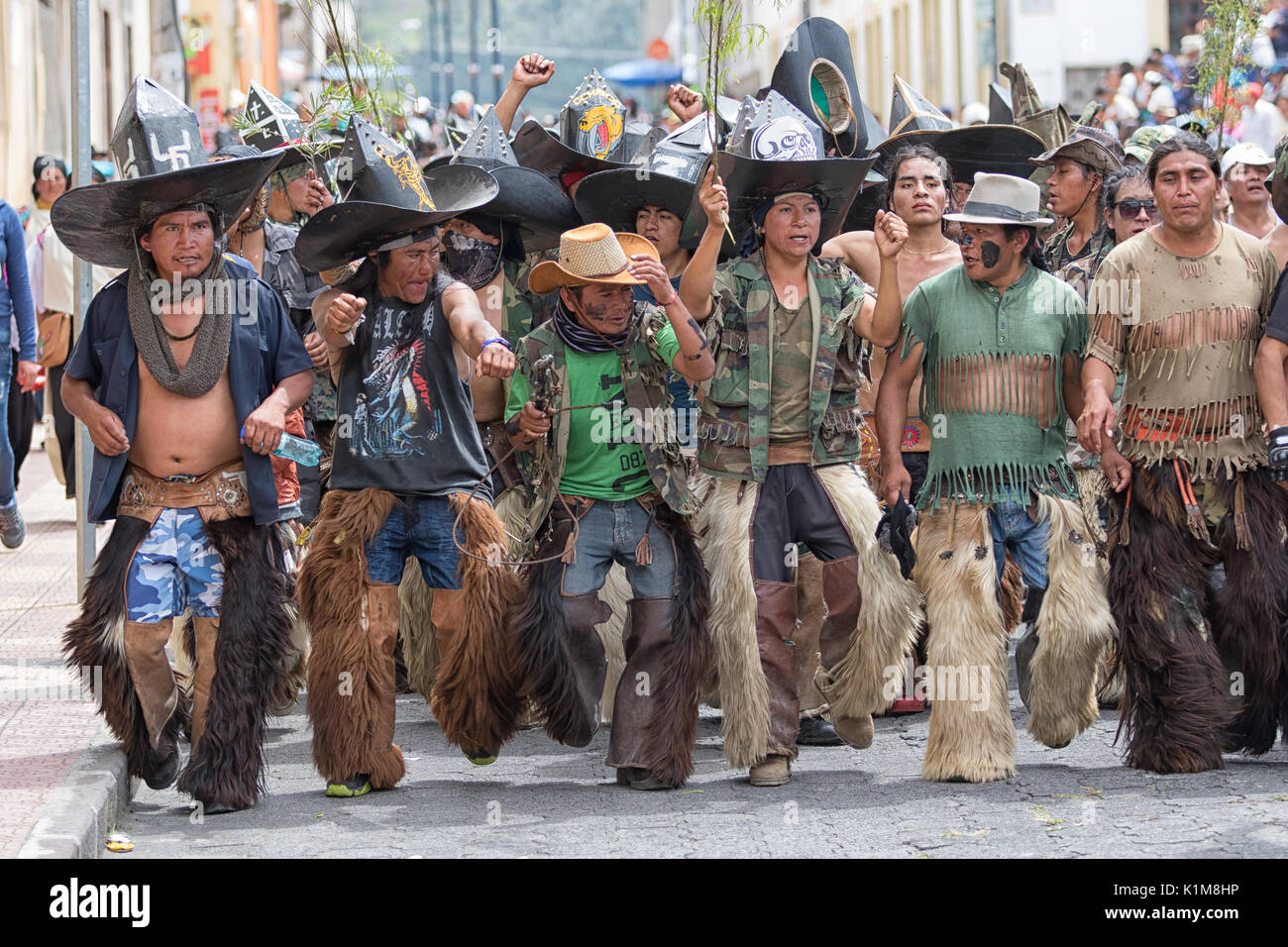 quechua indigenous people participating at the annual Inti Raymi parade at the summer solstice - Stock Image