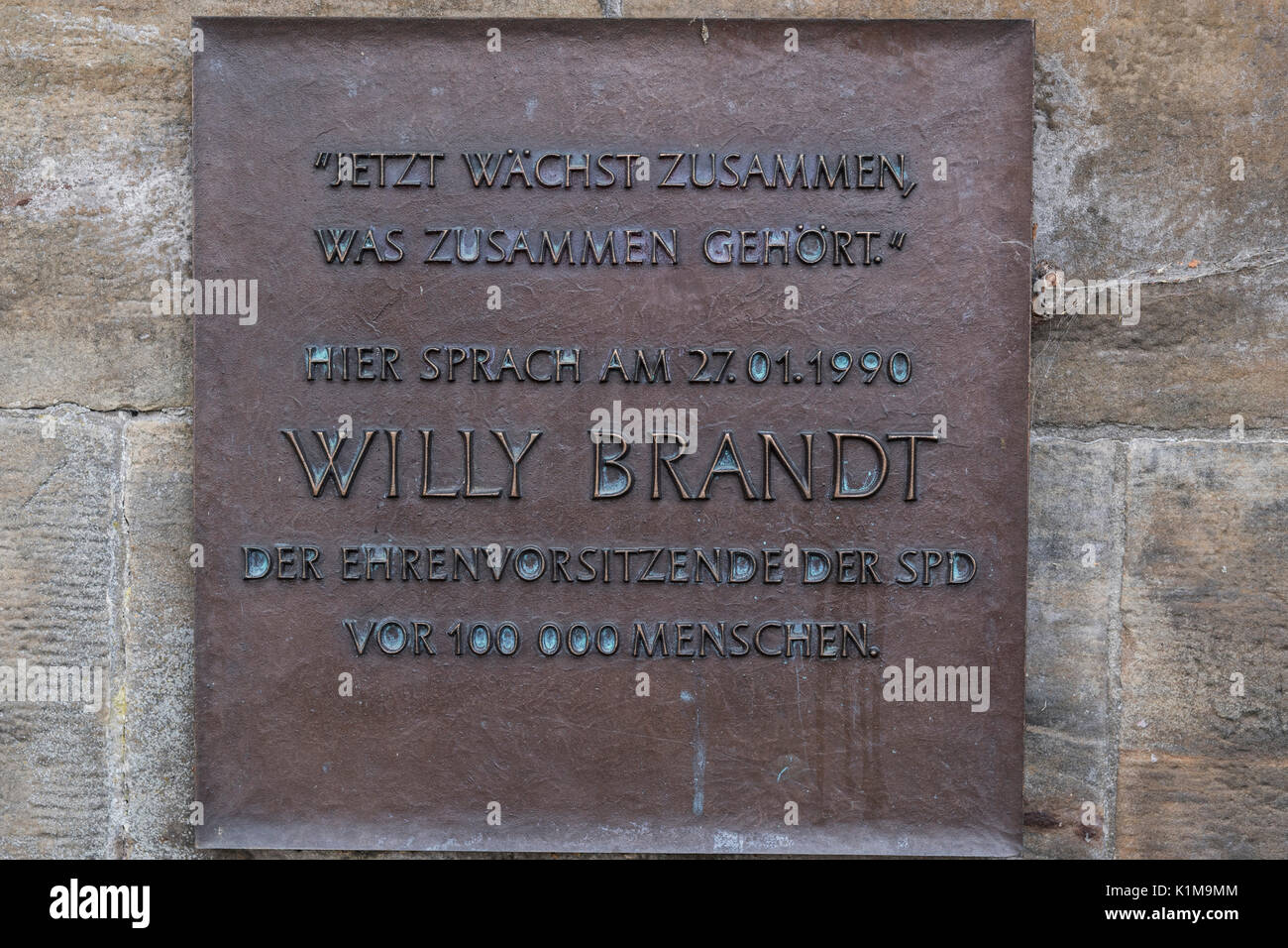Memorial plaque for the visit of Willy Brandt at the main market, Gotha, Thuringia, Germany Stock Photo
