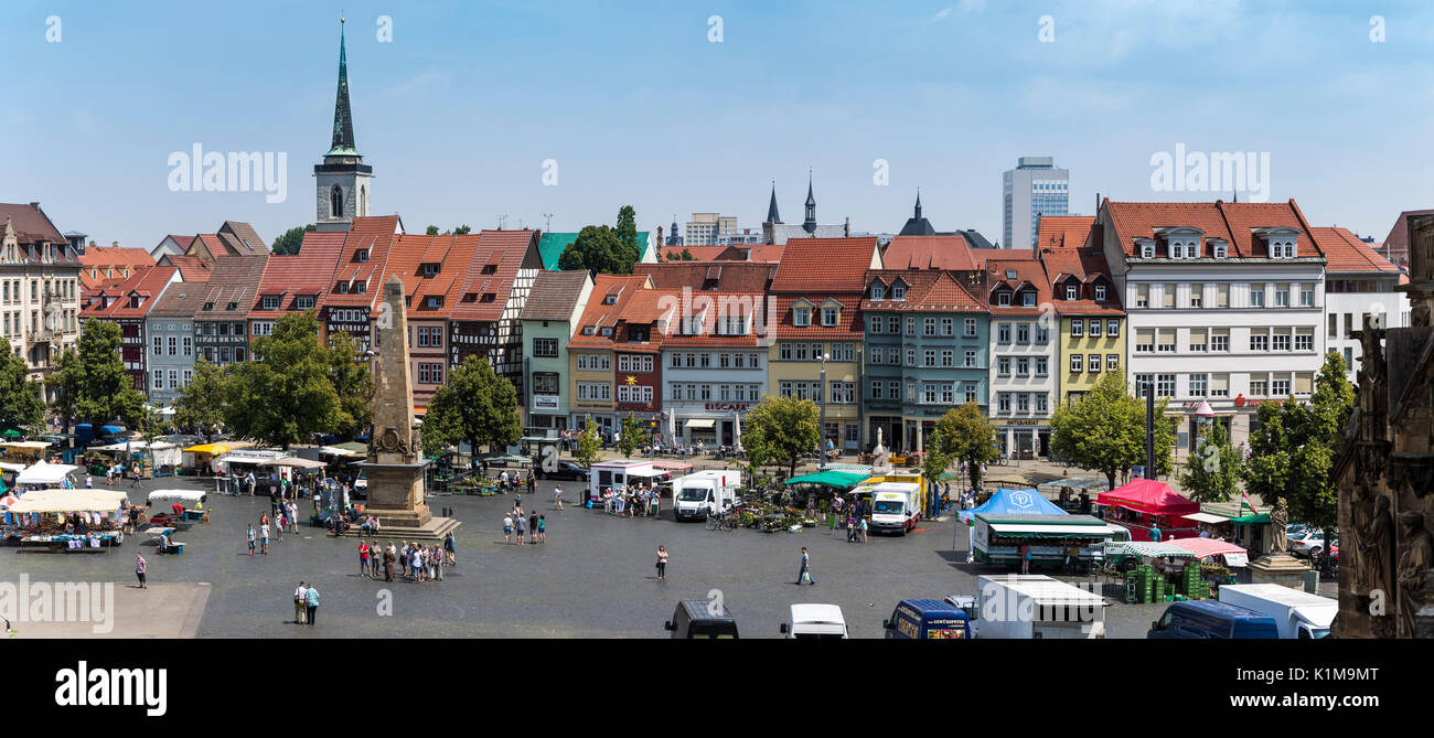 Cathedral Square with obelisk and All Saints Church, Erfurt, Thuringia, Germany - Stock Image