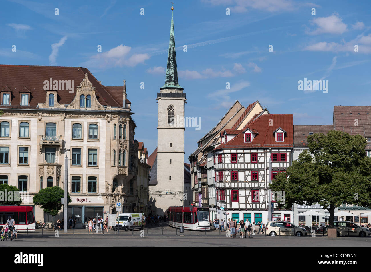All Saints Church and half-timbered houses on Cathedral Square, Erfurt, Thuringia, Germany - Stock Image