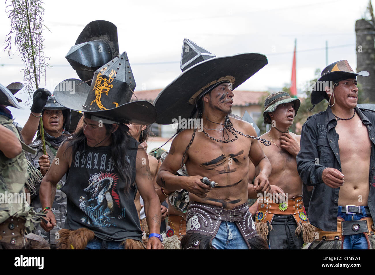 June 29, 2017 Cotacachi, Ecuador: kichwa indigenous people marching on the street during Inti Raymi festival - Stock Image