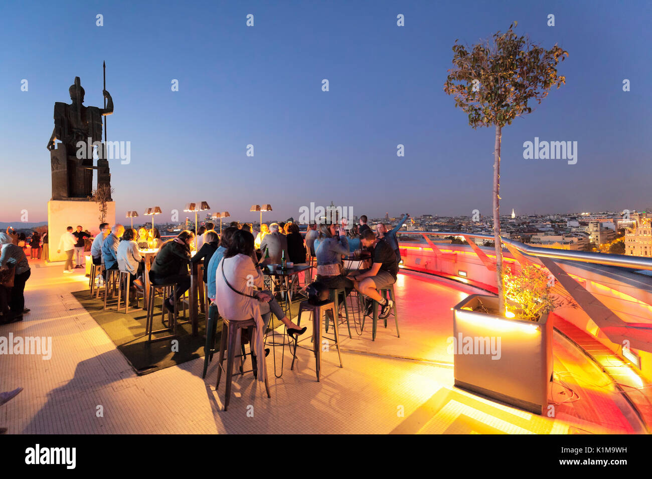 Rooftop bar La Azotea del Circulo, Circulo de Bellas Artes, Madrid, Spain - Stock Image