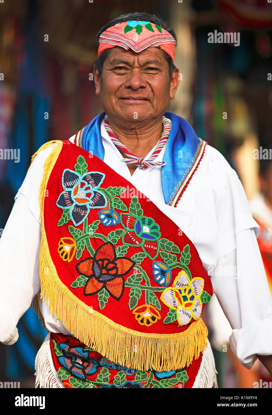 Man, 60 years old, in traditional costume, Voladores de Papantla, Xochimilco, State of Mexico, Mexico - Stock Image