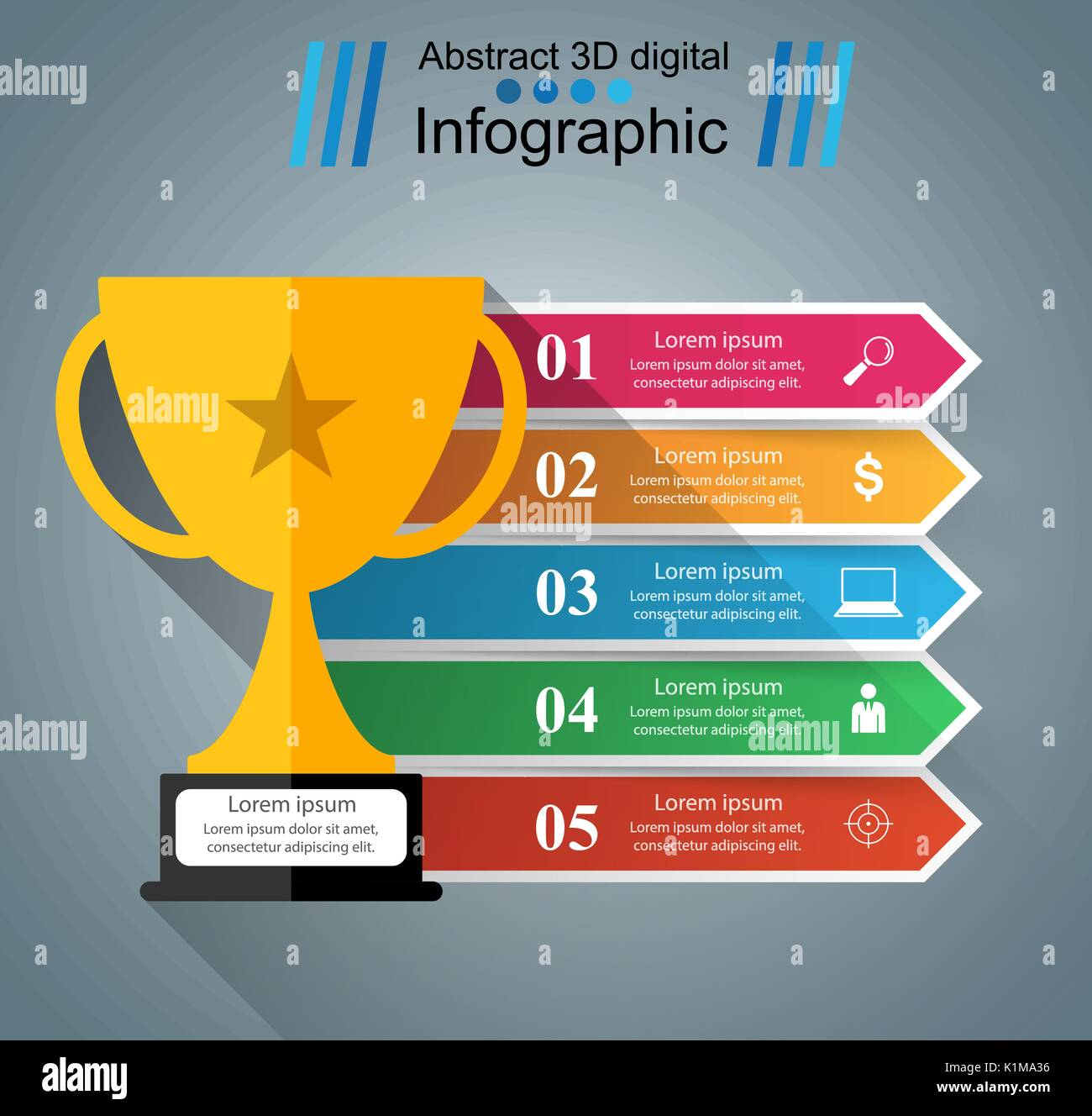 cup champion - business infographic - Stock Image
