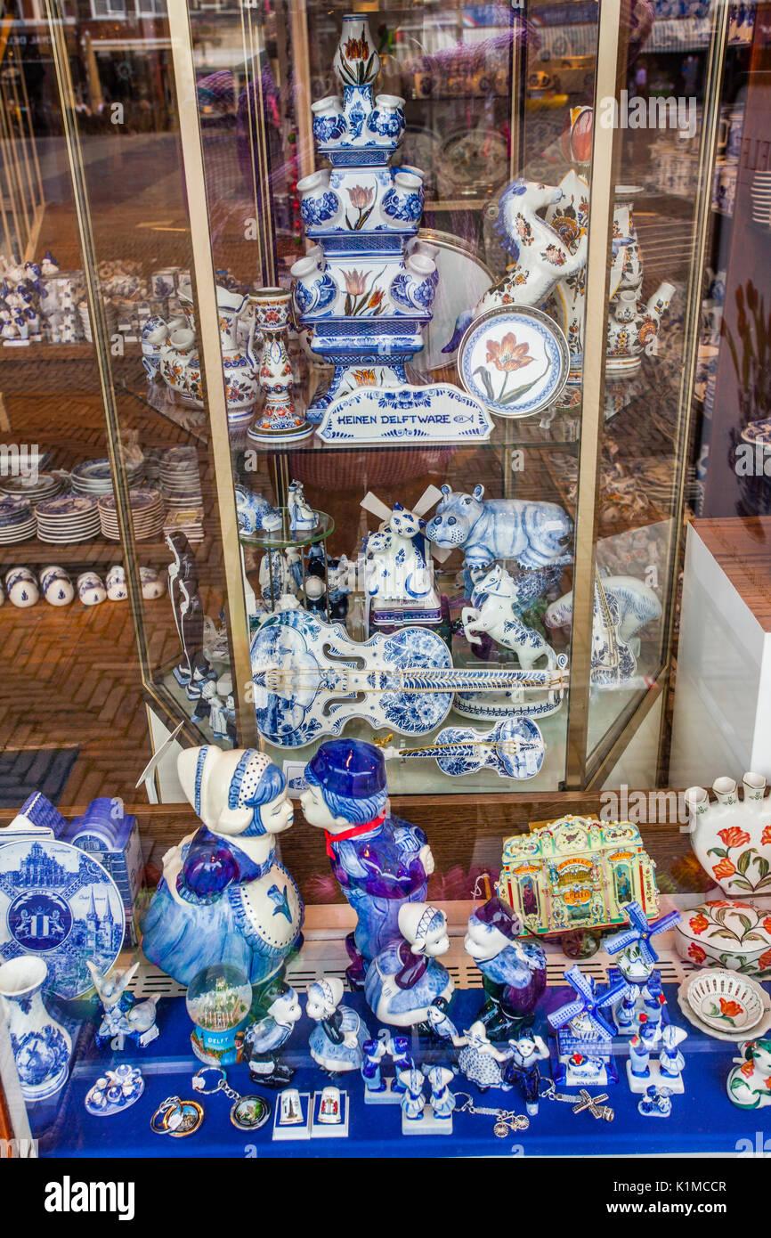 Netherlands, South Holland, Delft, blue Delftware pottery at a souvenir shop - Stock Image